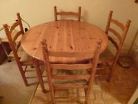Circular Pine Table and Chairs