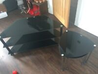 """TV Stand TV Unit Black Glass for up to approx 48"""" and Black Tempered Glass Table Set Nest of Tables"""