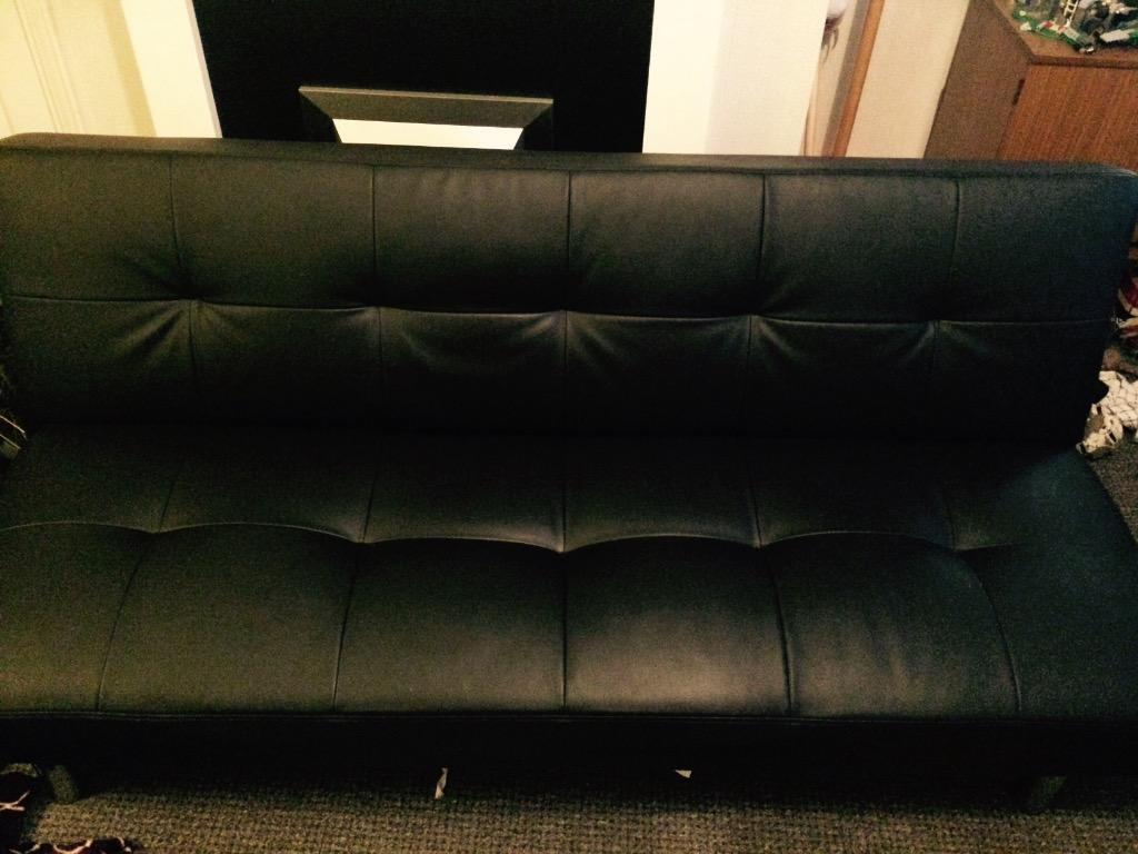 Black leather double sofa bed good condition in for Black double divan bed