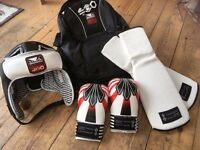 Karate head guard, mitts and shin guards - children's/medium size