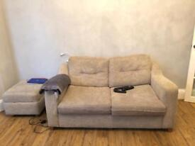 Two seater sofa bed and stool