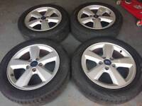 """GENUINE OEM FORD 16"""" 5X108 ALLOY WHEELS + 4 GOOD TYRES VOLVO CONNECT FOCUS"""
