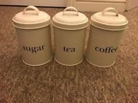 KITCHEN CREAM CANISTERS, TEA, SUGAR & COFFEE