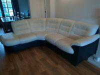 Leather black and white dfs corner sofa