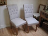Pair of Kitchen / Dining Chairs, Upholstered Button-Back - Very good condition