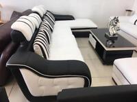 New Designer Black & White Large Corner Sofa
