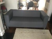 Two seater modern Ikea sofa with new cover