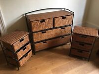 Rattan Chest of Drawers and Two Bedside tables with drawers