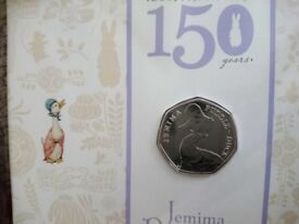 Beatrix Potter 150 years Anniversary Jemima Puddle-Duck 50p coin