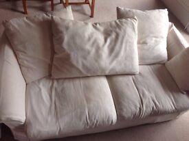 White 2 Seater Pillow Back Sofa