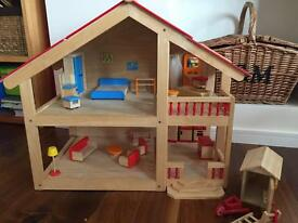 Wooden dolls house (pintoy) and mini furniture