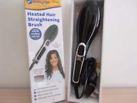Heating hair straightening brush