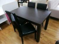 Black dining table + 4 black leather dining chairs