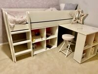 Children's bed Tinsley Mid Sleeper Bed with Storage and Desk, white, excellent condition, 1 year old