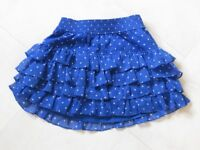 blue and white spotted hollister skirt size small