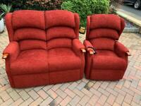 Two pieces suite, two seater sofa, couch, settee, riser-chair,armchair(free delivery🚚🚚🚚)