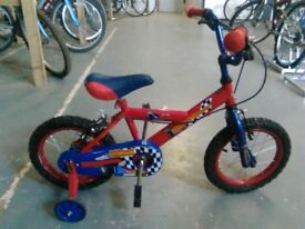 BOYS STREET RACER BIKE 14 INCH WHEELS + STABILISERS RED/BLUE GOOD CONDITION