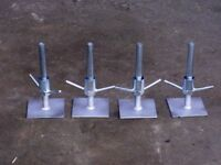 Scaffold tower adjustable base plates. Set of 4. New.