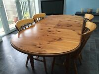 Pine extendable dining table and 4 chairs