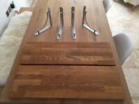 Solid oak shelves x 2 (includes 4 x steel brackets)