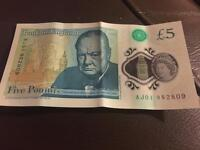 New five pound note preowned by lord sugar