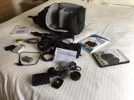 Nikon D80 with 18-200mm zoom lens fitted, Lowepro bag and other accessories