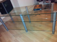 XLarge Glass TV stand 50x18x20in Ideal for All brands Samsung LG Toshisba Sony LCD, LED. ULED, OLED,