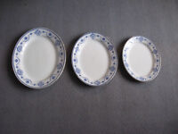 Vintage trio John Maddock & Sons Royal Vitreous Lisbon oval platters with blue swags