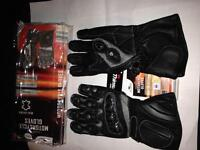 Leather motorbike gloves as new