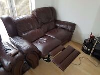 2 Brown Leather Sofas 1 Electric Recliner £100 Open To Offers