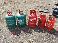5x propane gas bottles 50kg total - some full - caravan / barbeque