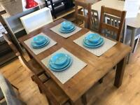 Solid Pine Dining Table 4 Chairs-NEW