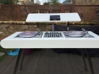 Unique Dj Deck Stand in White high gloss finish - fully integrated power and fan