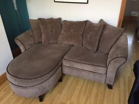 Light Brown 2 Seater L Shaped Sofa