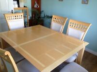 Wooden dining table and 6 chairs for sale
