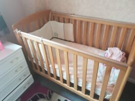 Reduced for quick sale -Mamas and Pappas Wooden Cot/Bed in oak complete with mattress