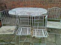 Vintage very chic iron large folding table and four chairs
