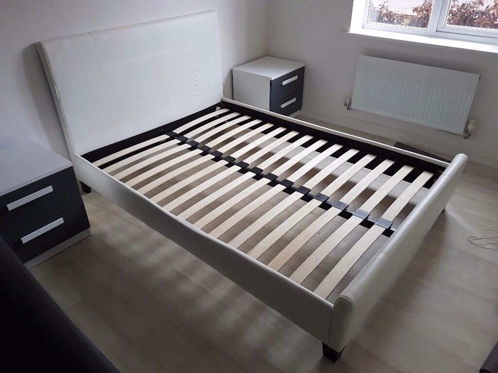 Modern white faux leather double bed frame