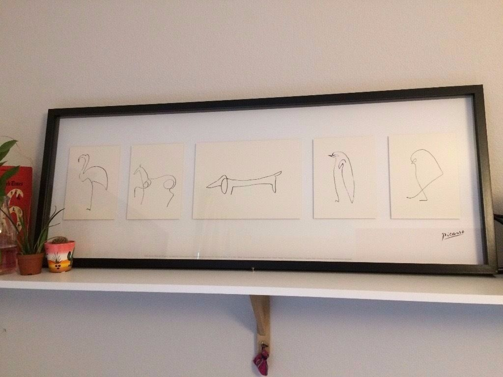 picasso wood and glass framed animal line doodle drawing sketch art from ikea with frame in. Black Bedroom Furniture Sets. Home Design Ideas