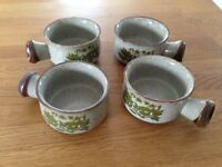 SOUP BOWLS CERAMIC POTTERY SET OF 4