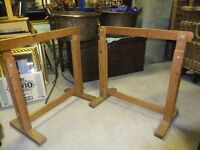ADJUSTABLE TRESTLES A PAIR MADE OF SOLID WOOD IN GOOD CONDITION HAVE VARIOUS USES £30 FOR THE PAIR