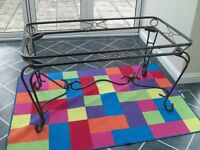 Wrought iron furniture - dining table with glass top, display unit, six chairs