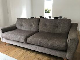 Fantastic 3-seater sized modern grey/flecked sofa with wooden legs - £150 + free TV chair/lazyboy!