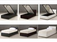 SINGLE BLACK LEATHER BED WITH STORAGE Single/Small Double Bed w/ 13inch Memory Foam Ortho Mattress