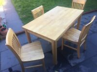 Excellent condition pine kitchen table and chairs