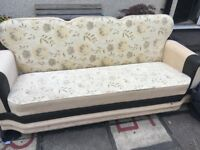 3 x 3 seater storage/bed, fabric settees,.