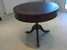 An Excellent Mahogany Drum Table with Claw Feet, Two Drawers and Red Top with Gold Inlay