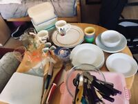 Plates, glasses, pots, pans, cutlery and more