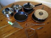 3 pots, 2 small frying pans, whisk, masher & cake slice