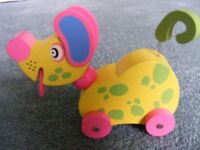 Wooden Wheeled Dog with Waggy Tail: Brand New